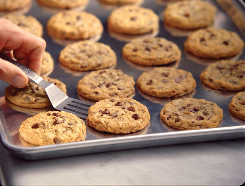 doubletree hilton chocolate chip cookies on baking sheet