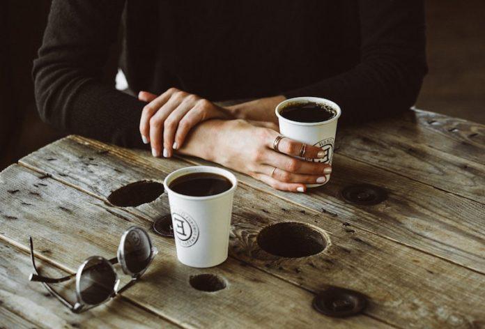 left hand coffee coffee cups on table montauk new york local