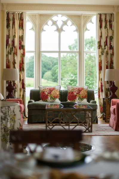 the downstairs sitting room at combermere abbey cheshire uk