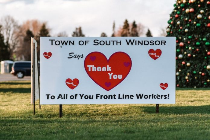 town of south windsor connecticut healthcare workers thank you sign hearts
