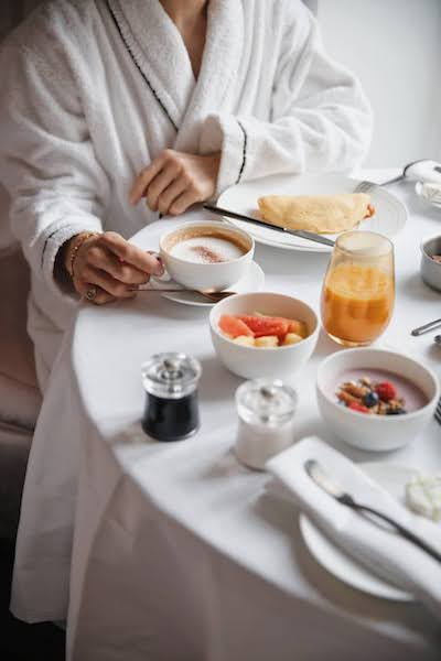breakfast in room service bathrobe Fauchon L'Hôtel in Paris france
