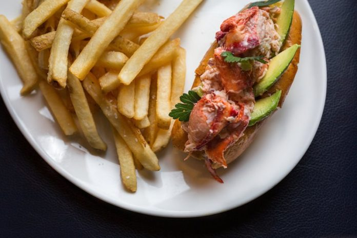 lobster roll with fries madison fender photography claudios greenport long island outdoor dining