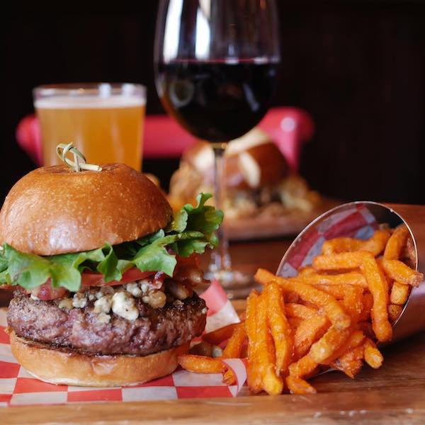 union burger bar cheeseburger and fries with wine