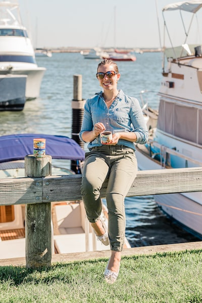 vanessa gordon eating blue diamond almonds in sag harbor wearing sunglasses east end taste magazine