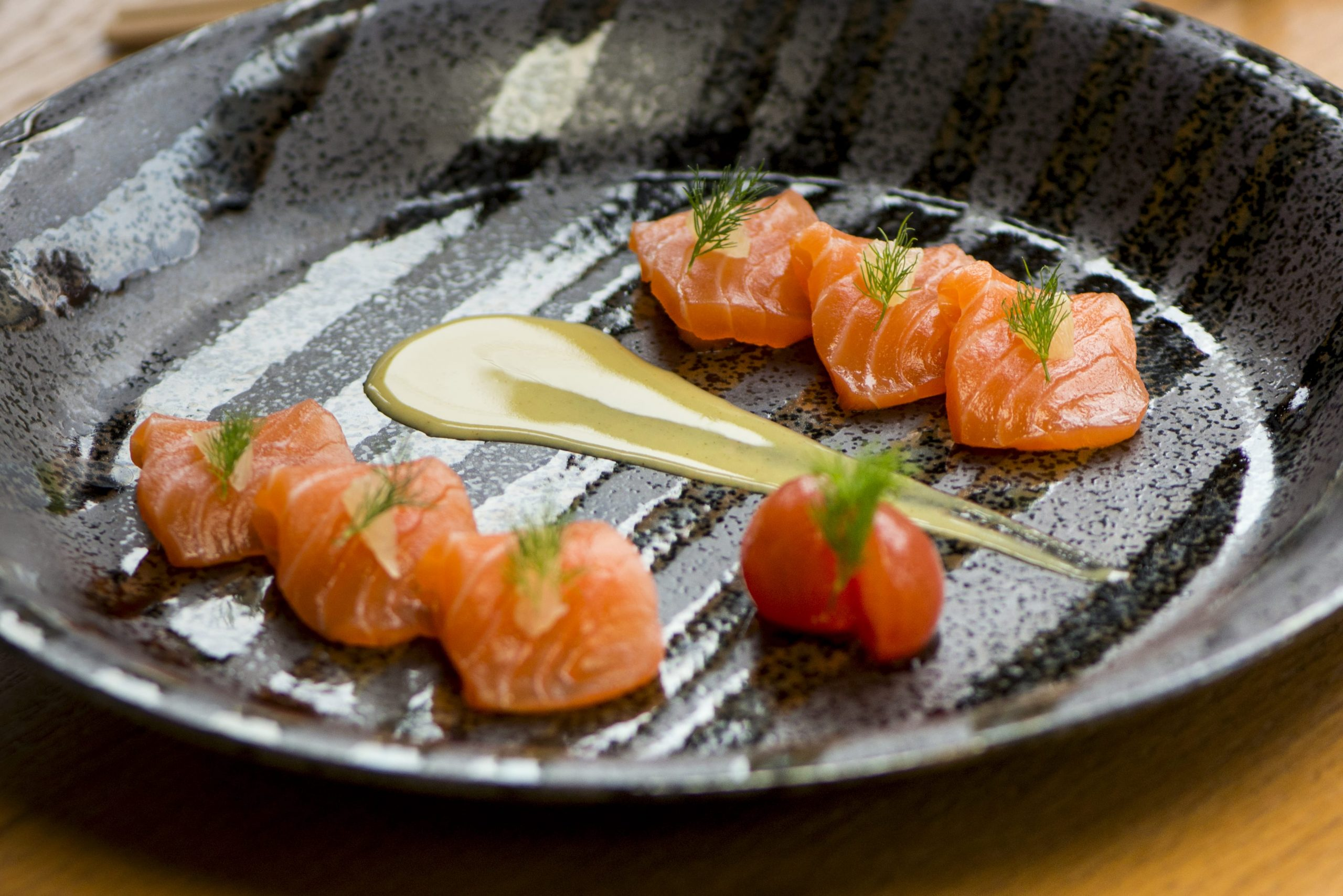 Scottish Salmon with Honey Yuzu Mustard Tiradito at sushi garage restaurant miami