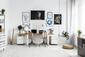 interior home office design ideas white room curtains rug artwork - East End Taste Magazine