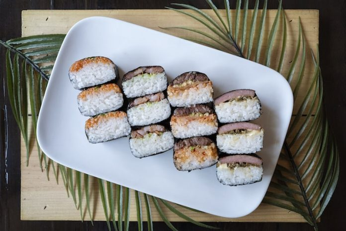 four musubis at noreetuh Hawaiian restaurant in NYC lower east side