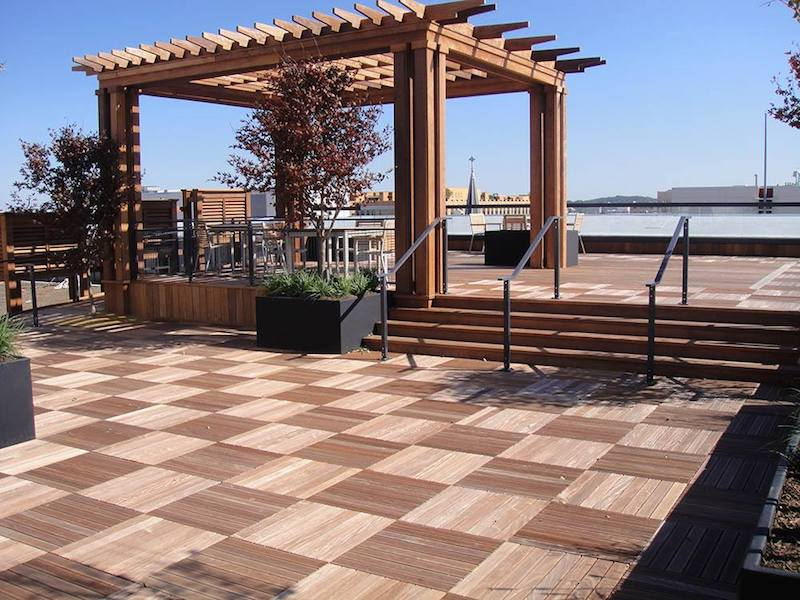 outdoor dining deck space blue sky