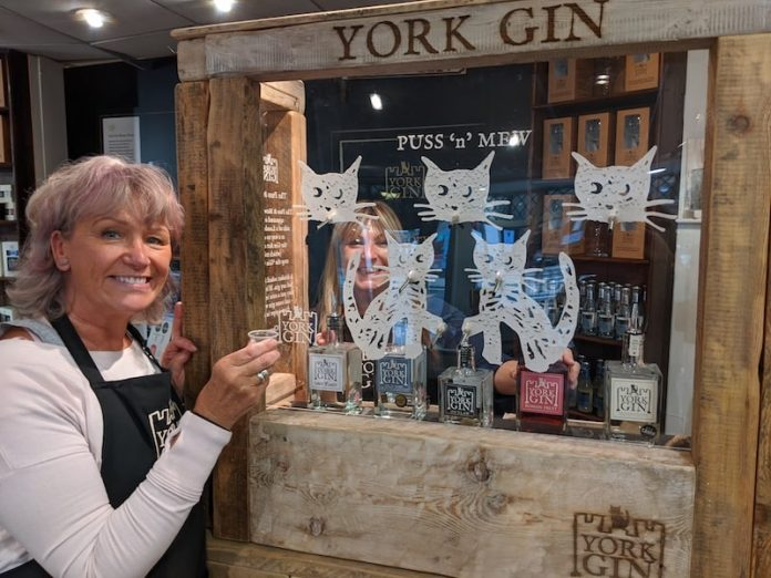 Puss and a Mew York Gin Yorkshire two women drinking gin
