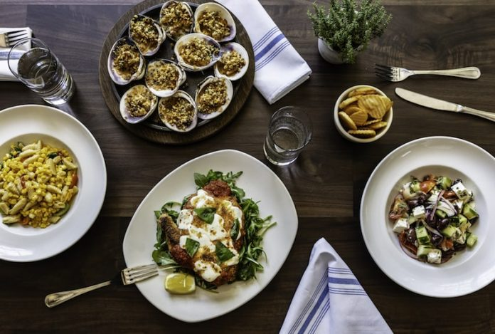 dinner dishes flatlay on a table the hamptons