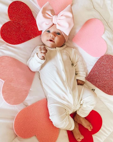 baby valentine's day hearts blanket with big bow on head