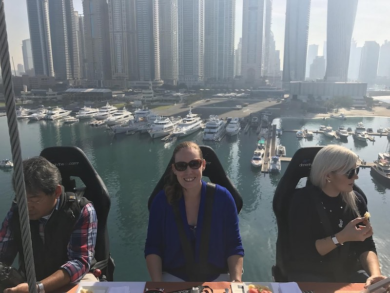 dinner in the sky dubai women with sunglasses