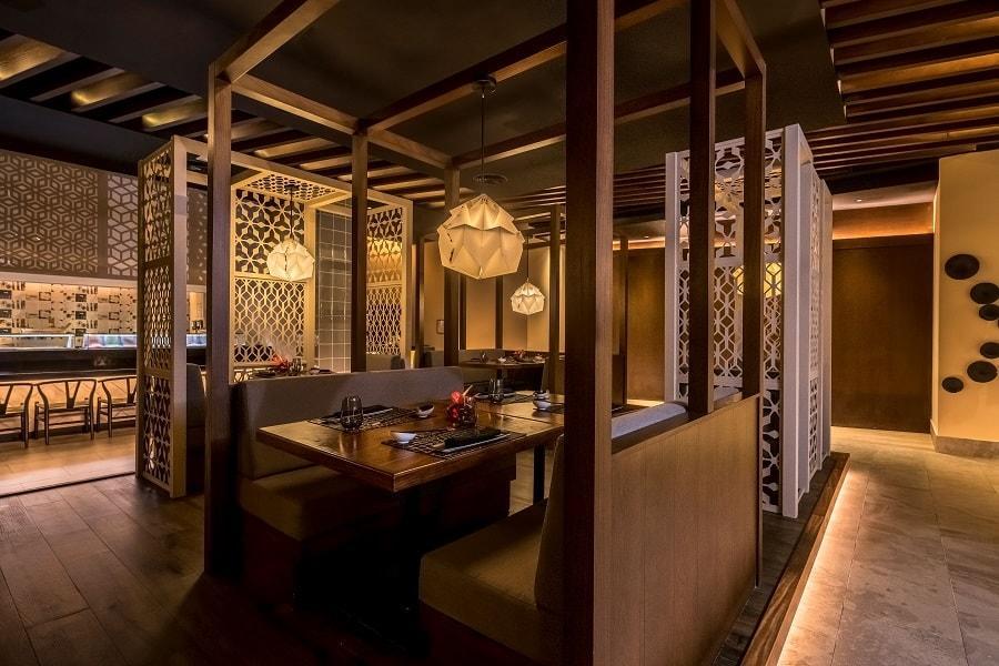 Satsu couple tables japanese restaurant asian fusion brown interior