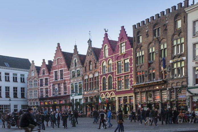 bruges west flanders belgium street buildings