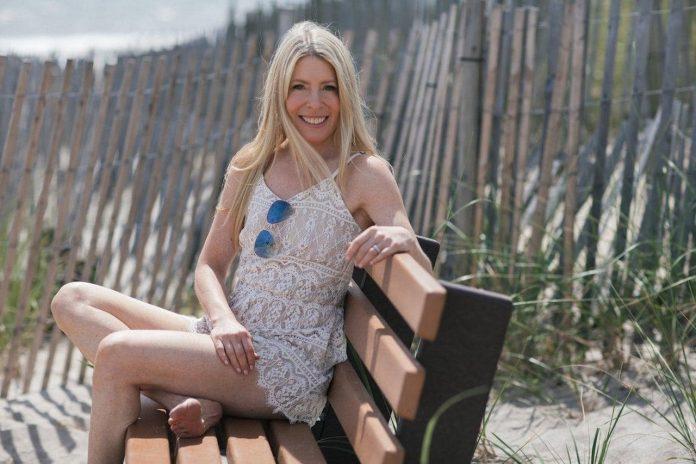Sarah Kugelman in the Hamptons at the beach