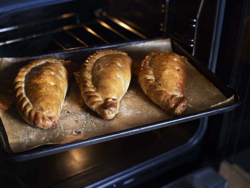cornish pasties baking in the oven - East End Taste Magazine