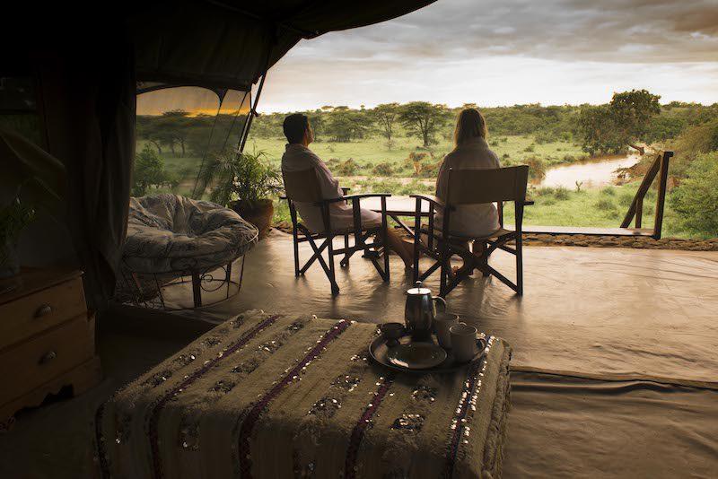 morning tea at richard's camp in kenya eastern africa