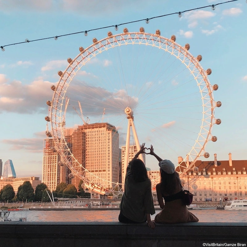 Girls in front of London Eye