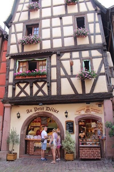 Riquewihr family travel ice cream shop pretty french town
