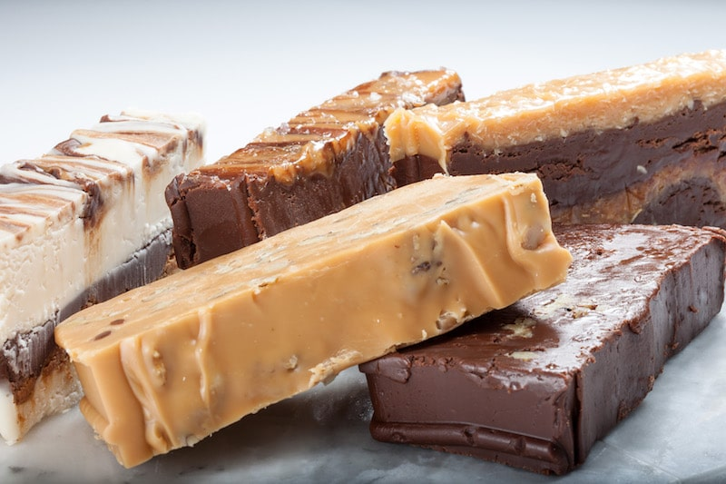assorted fudge by munson's chocolates peanut butter vanilla chocolate walnut