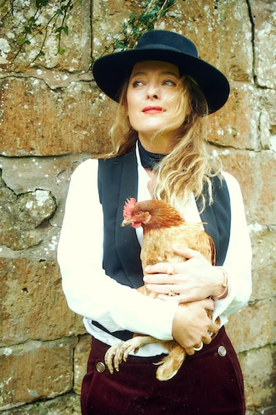 alice temperley profile shot with hen