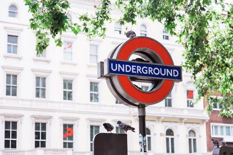 london underground sign spring summer day