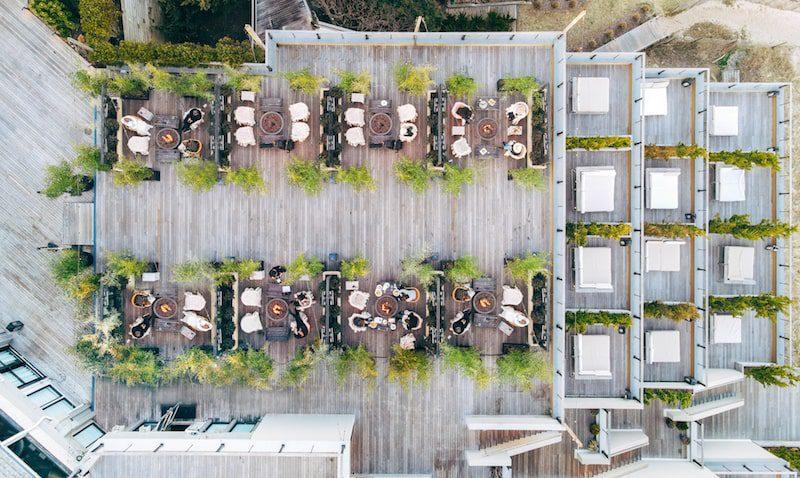 aerial view of bungalows by the sea gurney's resort montauk hamptons luxury