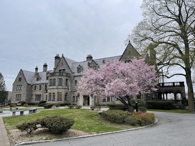mill neck manor spring cherry blossoms mansion long island