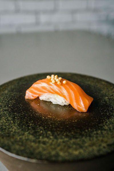 salmon with miso sauce and rice crackers kissaki