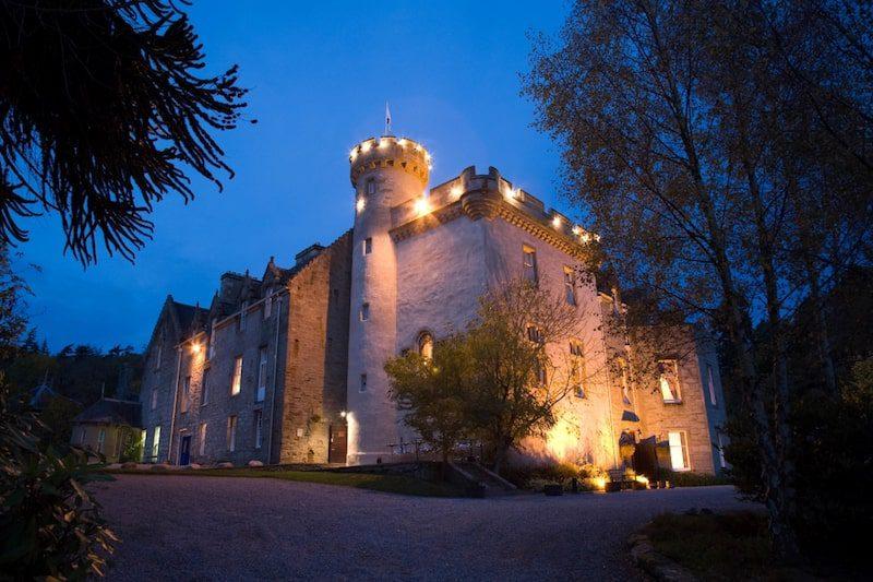 tulloch castle scotland at night