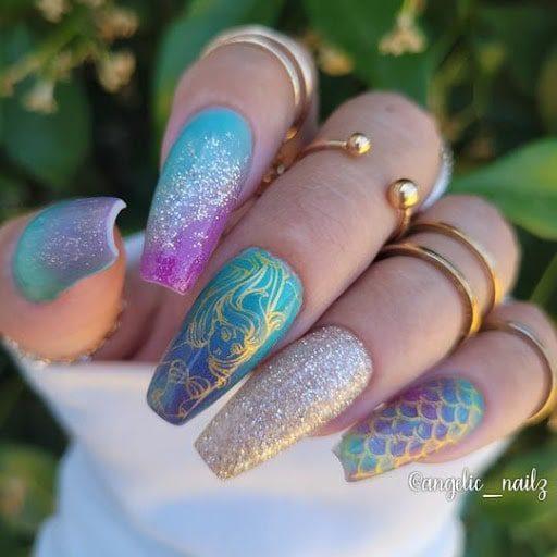beautiful mermaid dip powder nails manicure at home ideas