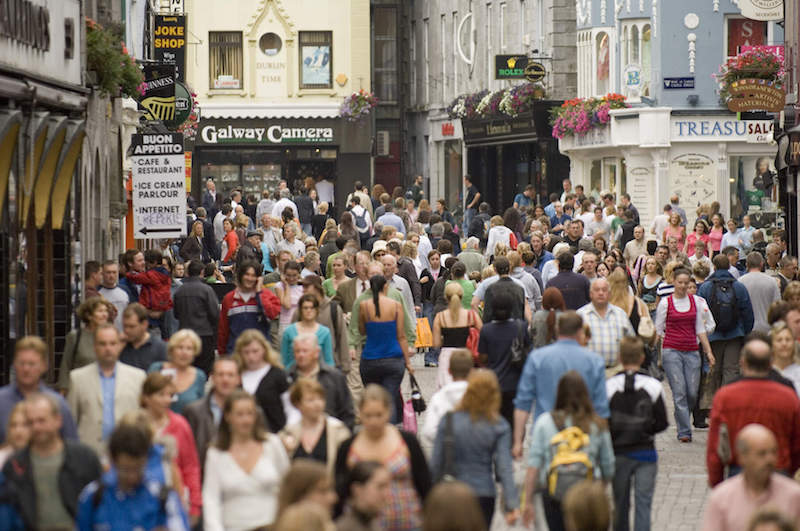 shop street galway city crowded streets