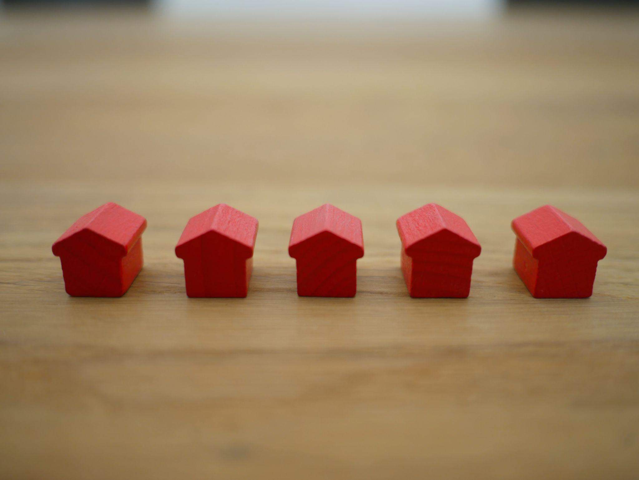 red small houses home real estate planning