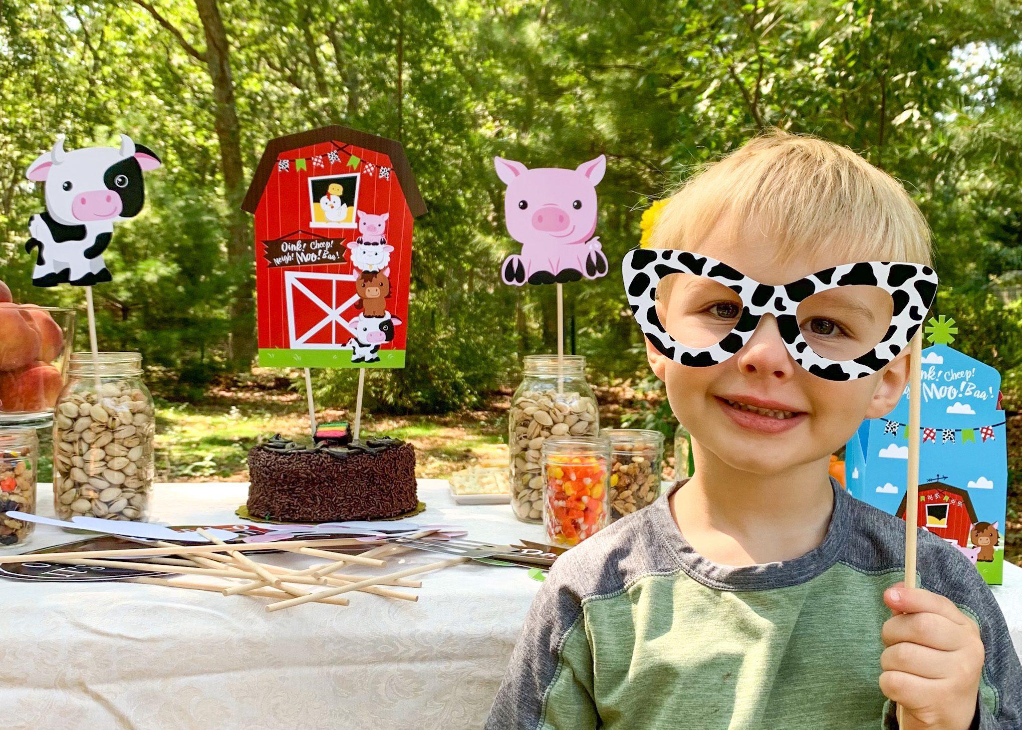 benjamin gordon farm theme birthday big dot of happiness table chocolate cake