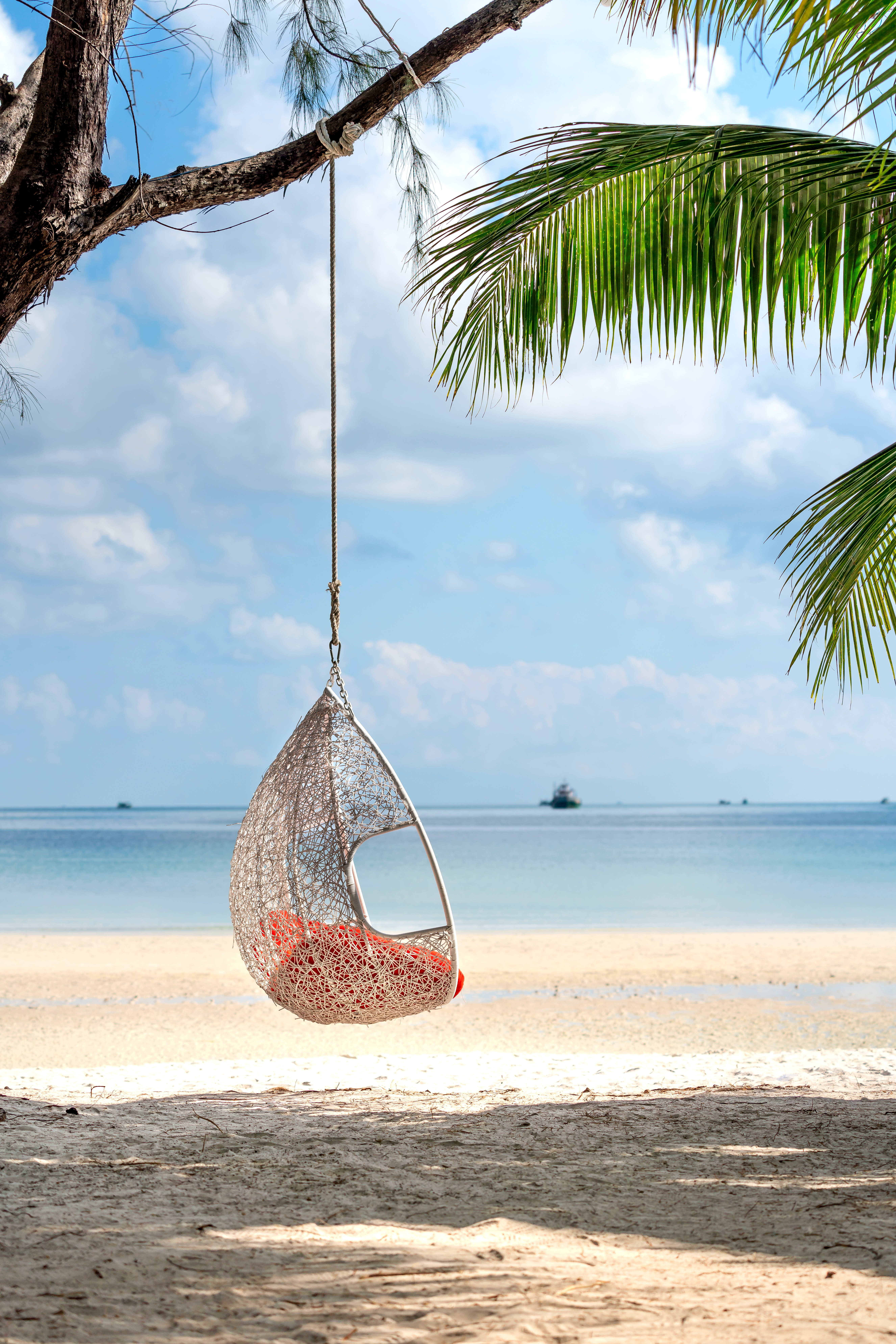 Beach hammock chair resort tropical island