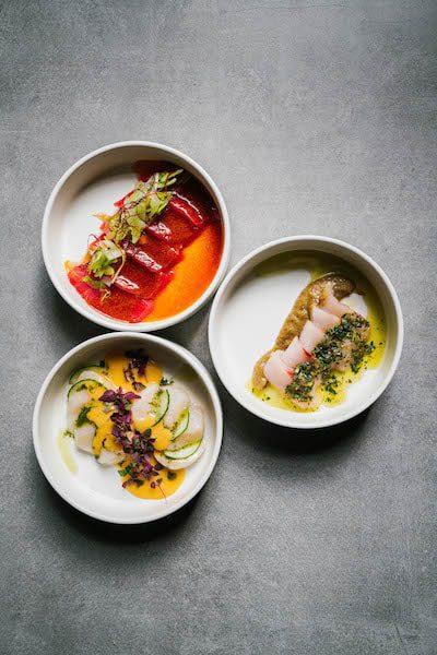Akami, Hotate & Kanpachi Crudo