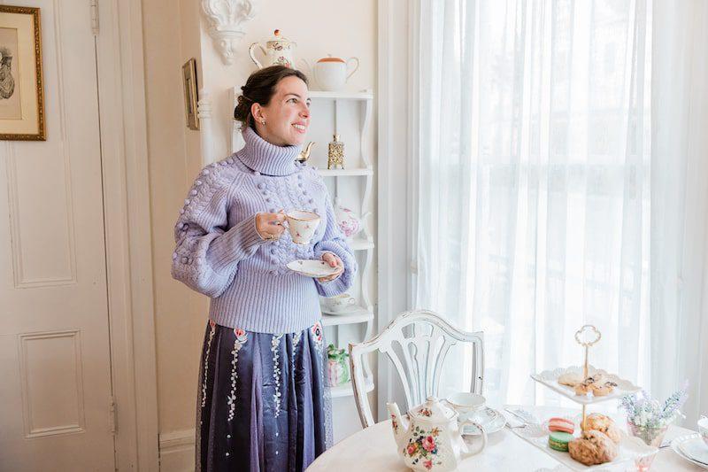 Vanessa Gordon in a Temperley London knitwear jumper sweater lavender