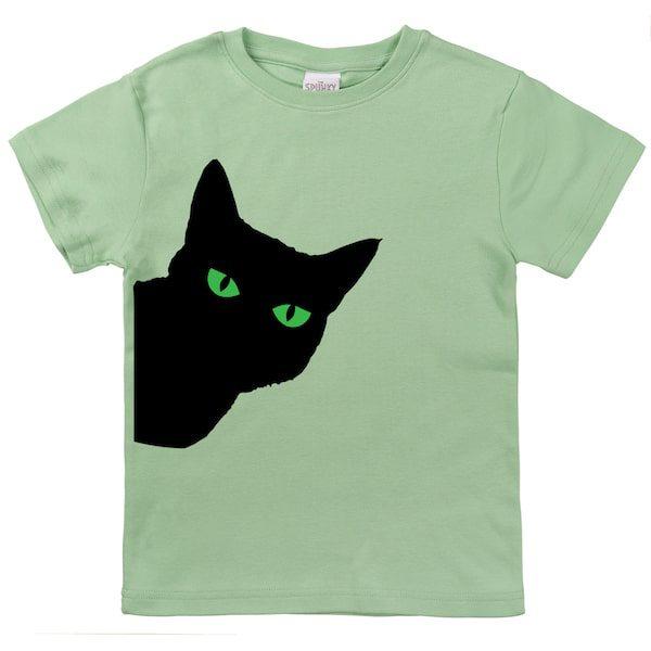 the spunky stork black cat green eyes tee shirt children Halloween