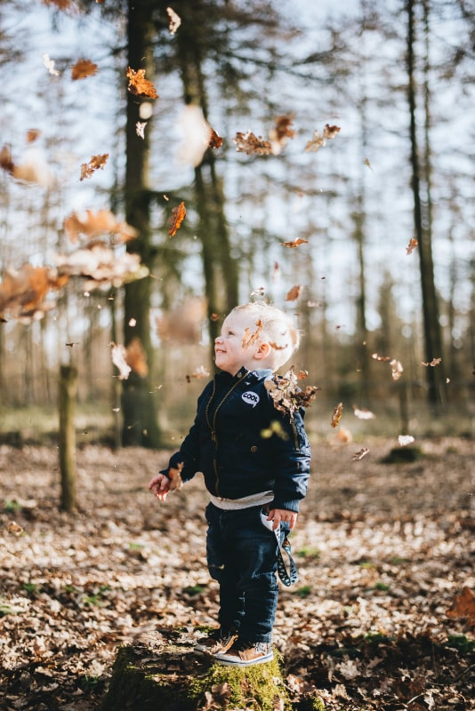 young boy child throwing leaves in the air