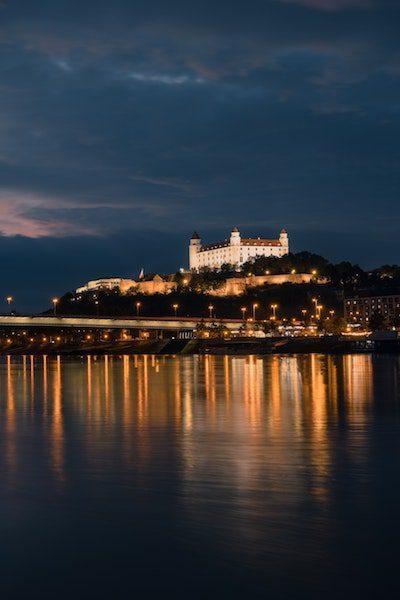 bratislava slovakia at night castle scenery