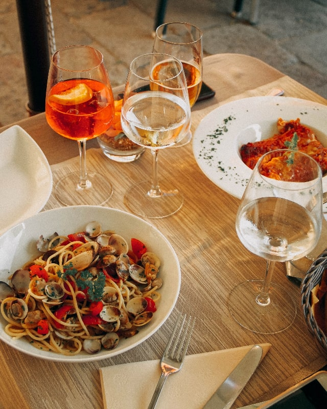 venice seafood spaghetti and aperol spritz