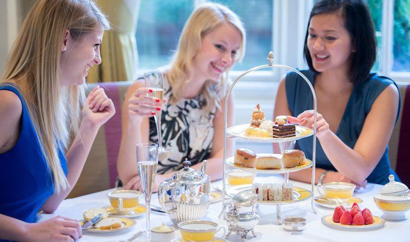 the goring women guests enjoying afternoon tea