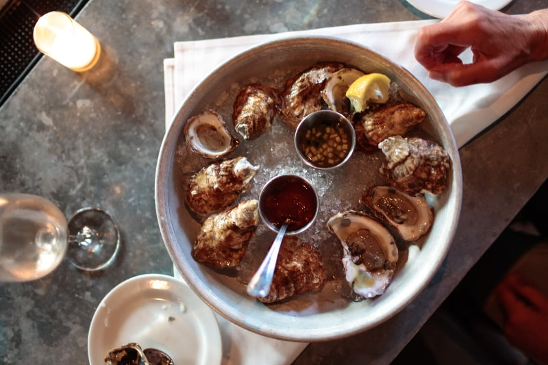fresno chilled oysters with lemon hamptons